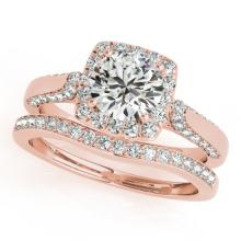 1.37 CTW Certified VS/SI Diamond 2pc Wedding Set Solitaire Halo 14K Gold - REF#-156X9T-30706