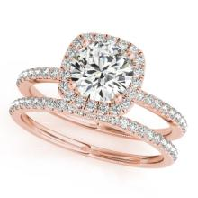 1.70 CTW Certified VS/SI Diamond 2pc Wedding Set Solitaire Halo 14K Gold - REF#-488W2G-30664