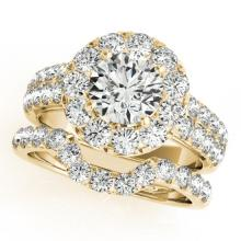 2.3 CTW Certified VS/SI Diamond 2pc Wedding Set Solitaire Halo 14K Gold - REF#-270T9K-30887