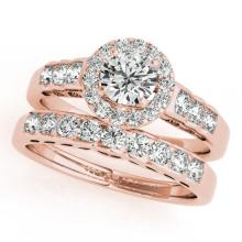 1.71 CTW Certified VS/SI Diamond 2pc Wedding Set Solitaire Halo 14K Gold - REF#-234A5X-31257