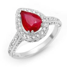 3.10 ctw Ruby & Diamond Ring 14K White Gold - REF#-89F5V-10702