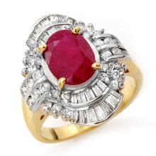 4.58 ctw Ruby & Diamond Ring 14K Yellow Gold - REF#-116N9A-13088