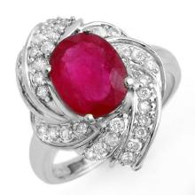 3.55 ctw Ruby & Diamond Ring 18K White Gold - REF#-102W2G-13225