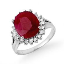 4.04 ctw Ruby & Diamond Ring 14K White Gold - REF#-64T5K-13300