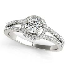 1 CTW Certified VS/SI Diamond Bridal Solitaire Halo Ring 18K White Gold Gold - REF#-196G9N-26679
