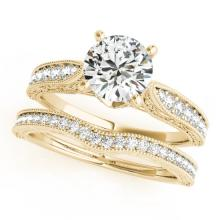 0.95 CTW Certified VS/SI Diamond Solitaire 2pc Wedding Set Antique Gold - REF#-144T2K-31501