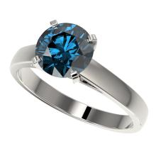 2 CTW Certified Intense Blue SI Diamond Solitaire Engagment Ring Gold - REF#-417A6X-33035