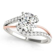 0.85 CTW Certified VS/SI Diamond Bypass Solitaire  Ring 18K Two Tone Gold - REF#-127K6W-27711