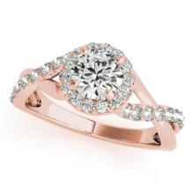 0.85 CTW Certified VS/SI Diamond Bridal Solitaire Halo Ring 18K Rose Gold Gold - REF#-131N8A-26665