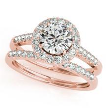 0.96 CTW Certified VS/SI Diamond 2pc Wedding Set Solitaire Halo 14K Gold - REF#-140W2G-30784