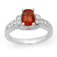 1.58 ctw Pink Tourmaline & Diamond Ring 14K White Gold - REF#-70V2Y-13655