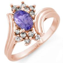 1.0 ctw Tanzanite & Diamond Ring 14K Rose Gold - REF#-37N8A-10148