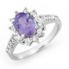 2.40 ctw Tanzanite & Diamond Ring 14K White Gold - REF#-82G4N-14365