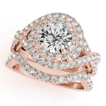 2.01 CTW Certified VS/SI Diamond 2pc Wedding Set Solitaire Halo 14K Gold - REF#-425T8K-31035