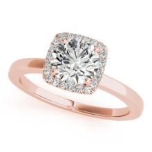 0.65 CTW Certified VS/SI Diamond Bridal Solitaire Halo Ring 18K Rose Gold Gold - REF#-122H2M-26273