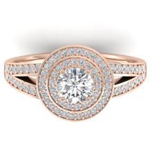 1.15 CTW CERTIFIED VS/SI DIAMOND ART DECO HALO RING 14K  Gold - REF#-147V3Y-30364