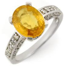 3.60 ctw Yellow Sapphire & Diamond Ring 14K White Gold - REF#-72W4G-11033