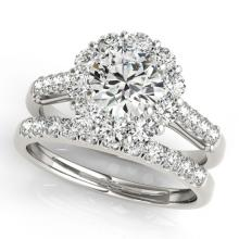 2.14 CTW Certified VS/SI Diamond 2pc Wedding Set Solitaire Halo 14K Gold - REF#-259N5A-30738