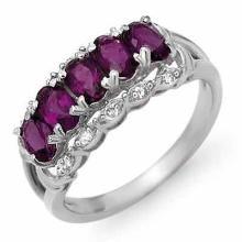 1.65 ctw Amethyst & Diamond Ring 14K White Gold - REF#-34H9M-12309