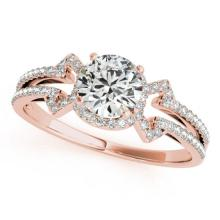 0.9 CTW Certified VS/SI Diamond Solitaire Bridal  Ring 18K Rose Gold Gold - REF#-134V9Y-27967