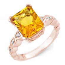 4.25 ctw Citrine & Diamond Ring 10K Rose Gold - REF#-33V3Y-10850