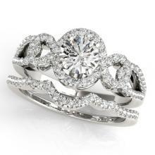 1.55 CTW Certified VS/SI Diamond 2pc Wedding Set Solitaire Halo 14K Gold - REF#-389K3W-31082