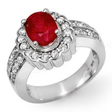 2.25 ctw Ruby & Diamond Ring 18K White Gold - REF#-114M2R-11920