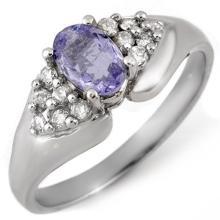 0.90 ctw Tanzanite & Diamond Ring 10K White Gold - REF#-36R4H-10666