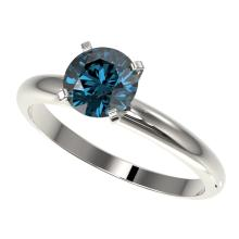1.25 CTW Certified Intense Blue SI Diamond Solitaire Engagment Ring Gold - REF#-179T3K-32909