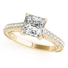1.3 CTW Certified VS/SI Princess Diamond Solitaire Bridal Ring 18K Yellow Gold - REF#-359G5N-27644