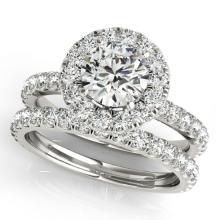 2.04 CTW Certified VS/SI Diamond 2pc Wedding Set Solitaire Halo 14K Gold - REF#-253F6V-30750