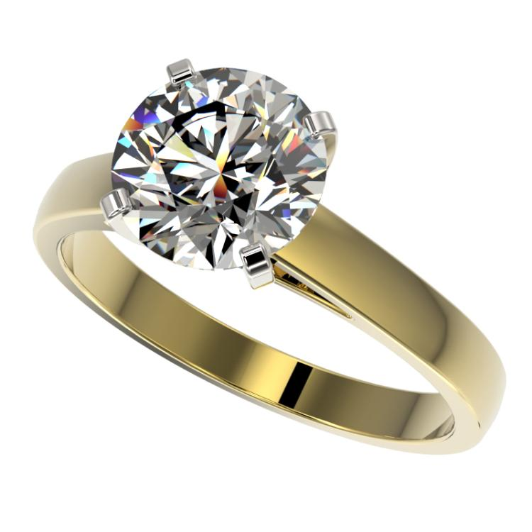 2.55 CTW Certified H-SI/I Quality Diamond Solitaire Engagement Ring 10K Yellow Gold - REF-729V2Y - 36562