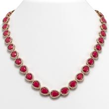64.01 CTW Ruby & Diamond Halo Necklace 10K Rose Gold - REF-785Y8K - 41190