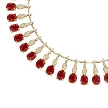 65.62 CTW Royalty Ruby & VS Diamond Necklace 18K Yellow Gold - REF-1254Y5K - 39125