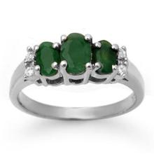 1.08 CTW Emerald & Diamond Ring 14K White Gold - REF-29X3T - 13661