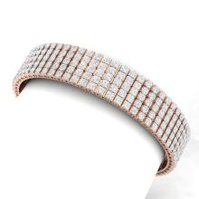 22 CTW VS/SI Diamond Unisex 8 Inches Bracelet 18K Rose Gold - REF-1290N2Y - 39954
