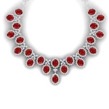 81 CTW Royalty Designer Ruby & VS Diamond Necklace 18K White Gold - REF-1618W2F - 38622