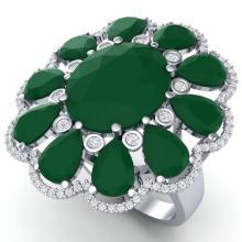 20.63 CTW Royalty Designer Emerald & VS Diamond Ring 18K White Gold - REF-353Y6K - 39138