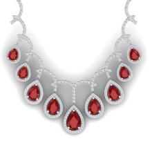31.5 CTW Royalty Designer Ruby & VS Diamond Necklace 18K White Gold - REF-872X8T - 39348