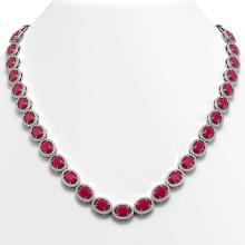 52.15 CTW Ruby & Diamond Halo Necklace 10K White Gold - REF-655T3M - 40556