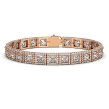 18.24 CTW Princess Diamond Designer Bracelet 18K Rose Gold - REF-3369Y8K - 42726