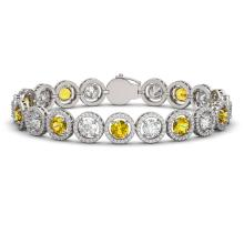 15.47 CTW Canary Yellow & White Diamond Designer Bracelet 18K White Gold - REF-2195X3T - 42689