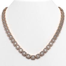 38.05 CTW Emerald Cut Diamond Designer Necklace 18K Rose Gold - REF-8080K2W - 42750