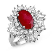 4.70 CTW Ruby & Diamond Ring 18K White Gold - REF-184F8N - 13323
