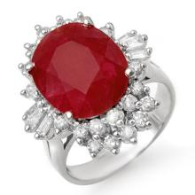 6.30 CTW Ruby & Diamond Ring 14K White Gold - REF-117T3M - 13063