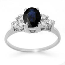 1.41 CTW Blue Sapphire & Diamond Ring 18K White Gold - REF-41M8H - 13734