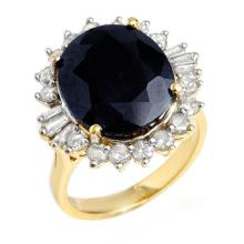 14.02 CTW Blue Sapphire & Diamond Ring 14K Yellow Gold - REF-125X6T - 12861