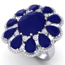 20.63 CTW Royalty Sapphire & VS Diamond Ring 18K Gold - REF-309F3M - 39144