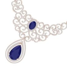 87.52 CTW Royalty Sapphire & VS Diamond Necklace 18K Rose Gold - REF-1727T3M - 39843