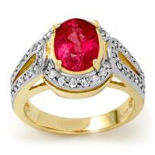 3.50 CTW Pink Sapphire & Diamond Ring 10K Yellow Gold - REF-64F5N - 13510